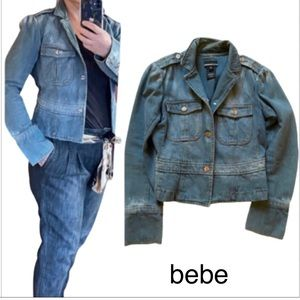Bebe cropped jean jacket stylish and cute